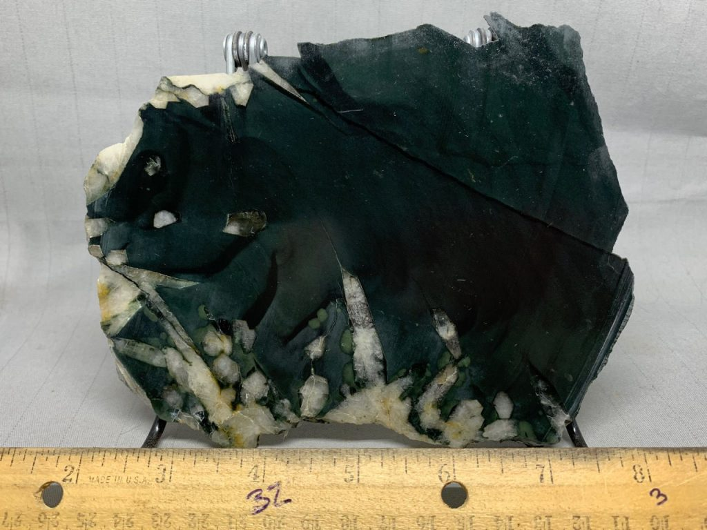 Edwards Black Nephrite jade w/crystals collector slab 1